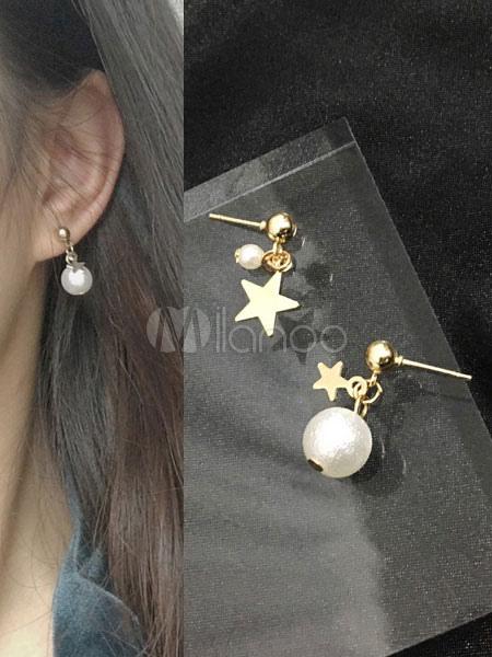 Gold Pearl Earrings Stars Women's Drop Earrings