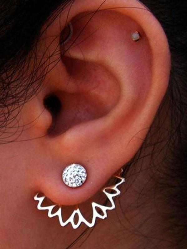 Silver Women's Earrings Flower Hollow Rhinestone Beaded Earrings