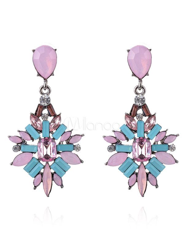 Buy Vintage Pierced Earrings Gems Jeweled Geometric Shape Classic Drop Earrings for $6.43 in Milanoo store