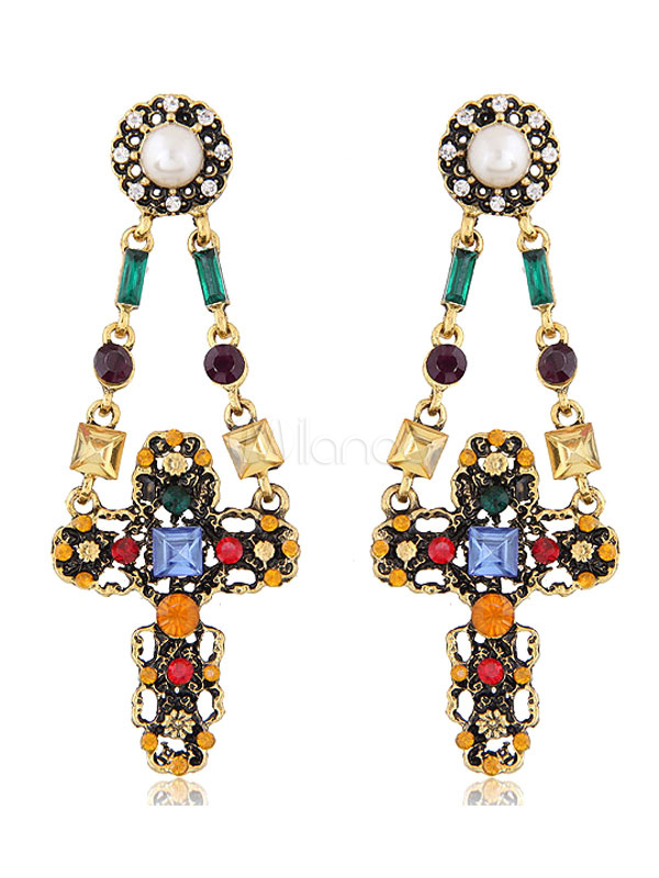 Buy Golden Statement Earrings Gems Rhinestones Jeweled Crucifix Shape Dangle Earrings for $5.94 in Milanoo store