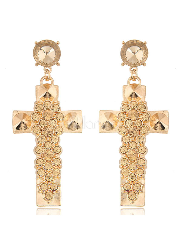 Buy Golden Statement Earrings Rhinestones Beaded Crucifix Shape Luxurious Pierced Earrings for $5.94 in Milanoo store
