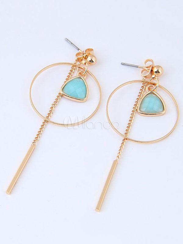 Buy Women's Drop Earrings Light Blue Round Shape Pierced Dangle Earrings for $5.94 in Milanoo store