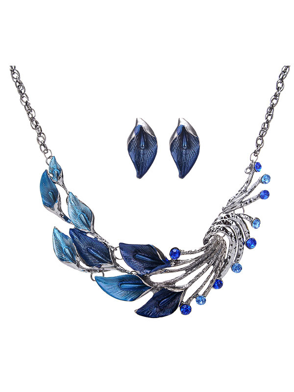 Blue Necklace Set Ethnic Style Peacock Design Gems Beaded Statement Necklace With Stud Earring
