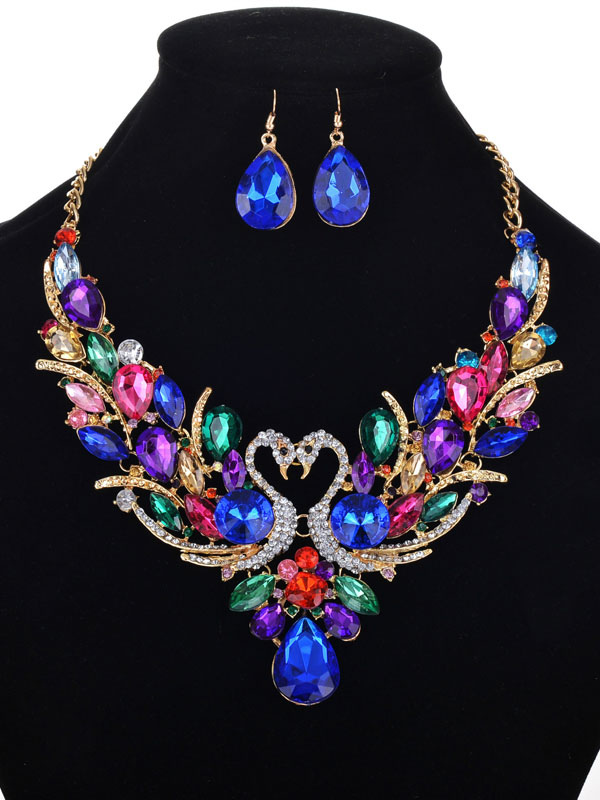 Buy Statement Necklace Set Luxurious Blue Crystal Gems Beaded Swan Design Necklace With Drop Earrings for $11.69 in Milanoo store