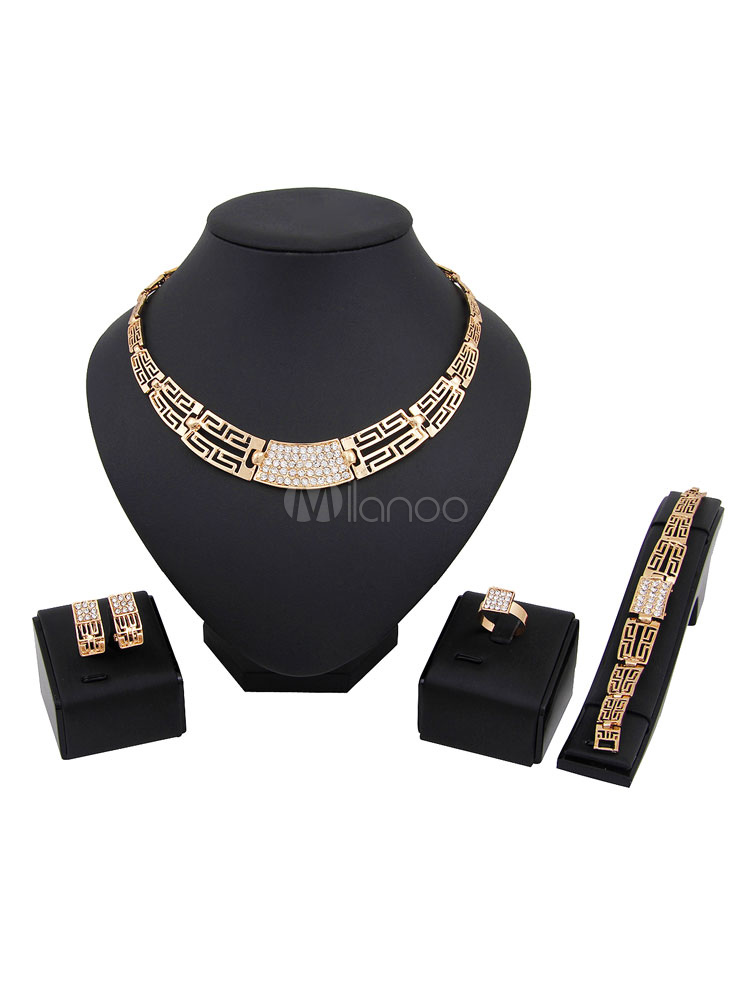 Women's Necklace Set Ethnic Style Rhinestones Hollow Out 4 Pieces Jewelry Set