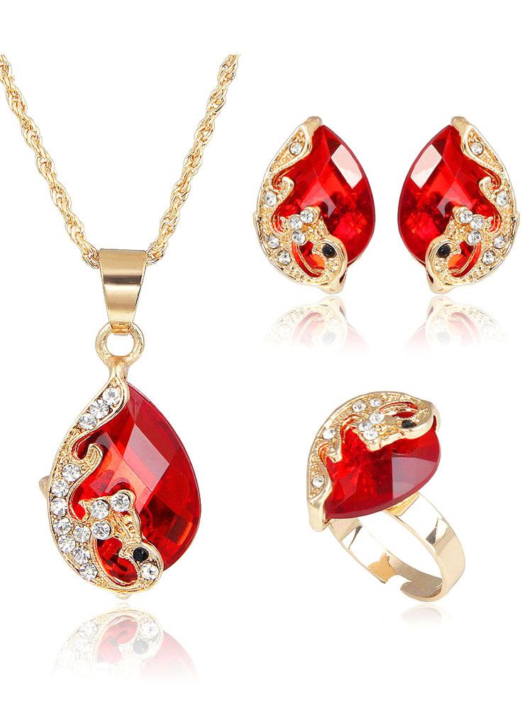 Vintage Jewelry Set Women's Luxurious Drop Gems Rhinestones Beaded 3 Pieces Necklace Set