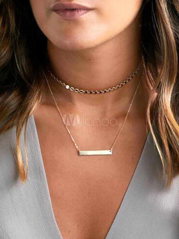 Buy Gold Layered Necklace Metal Sequins Choker Necklaces For Women for $4.59 in Milanoo store