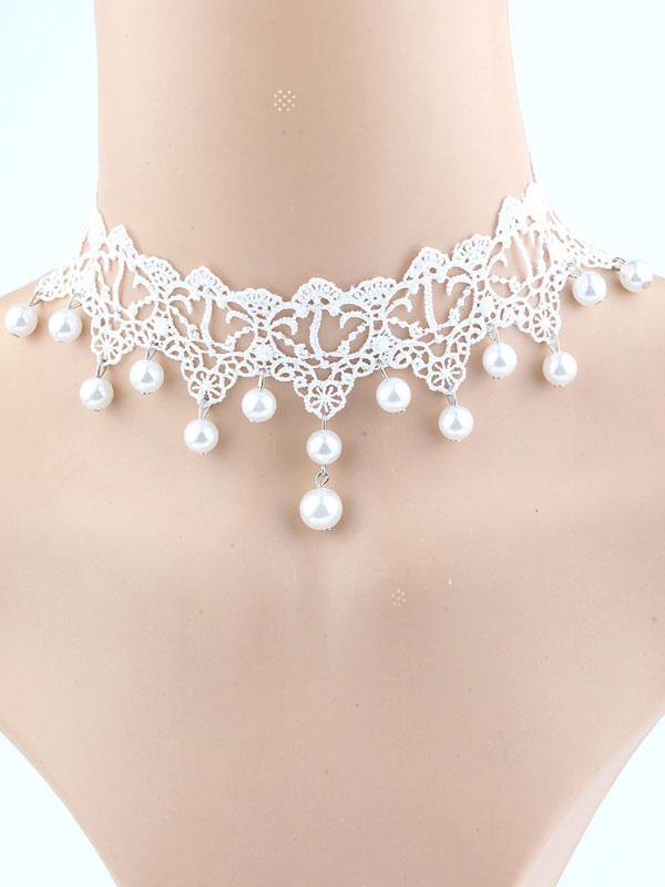 b6cda6624d91 Collar De malla blanco de encaje redondo estilo moderno Perlas de imitación para  mujer para pasar ...