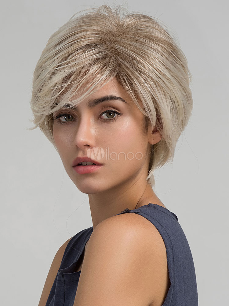 Short Boycuts Wigs Side Parting Layered Tousled Women's Light Apricot Synthetic Wigs
