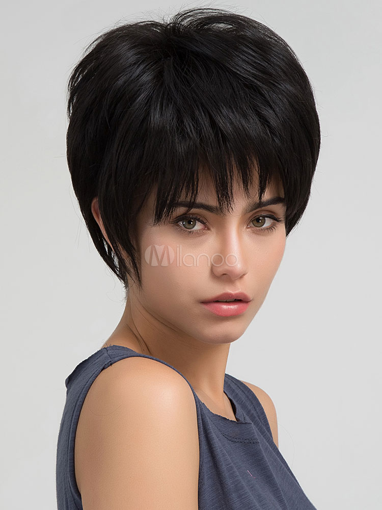 Black Human Hair Wigs Women's Short Layered Hair Wigs With Bangs
