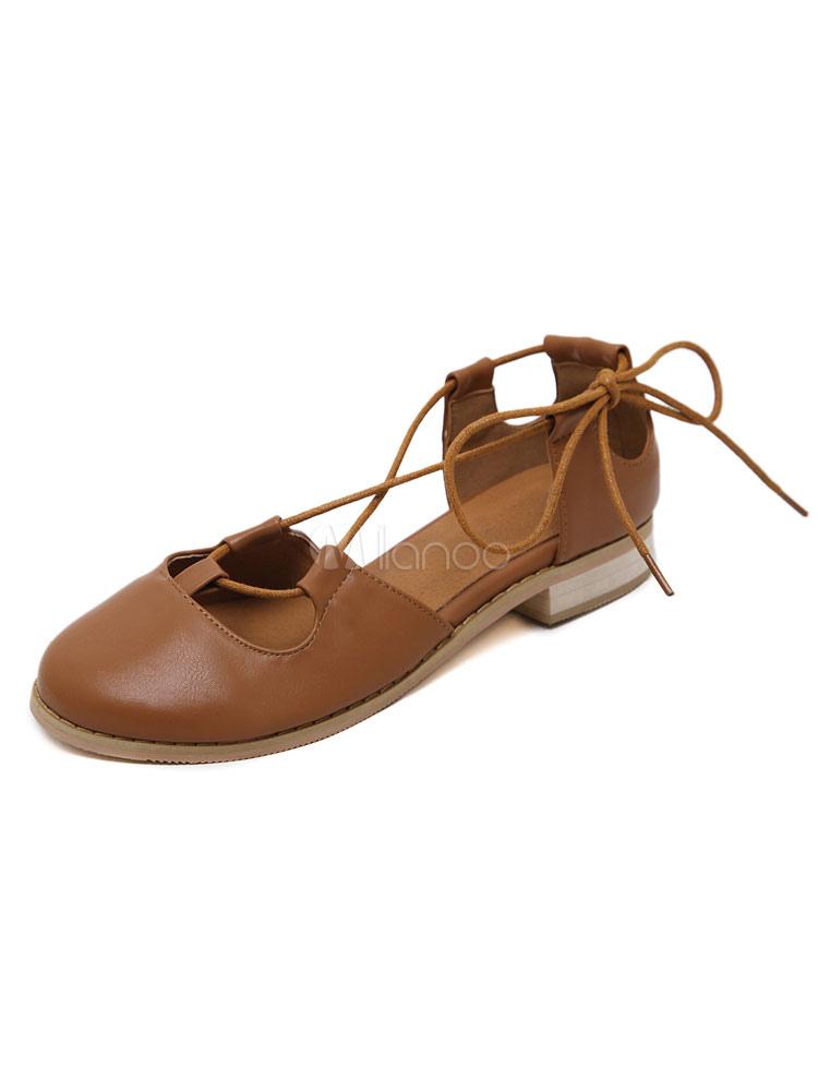 Zapatos planos de puntera redonda con cinta en la tobillera Planos para mujer para ocasión informal estilo informal Color liso bQNHGIu
