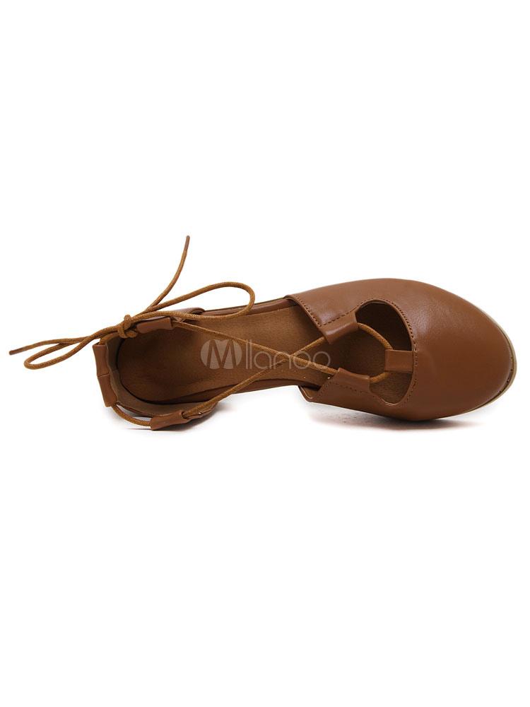 Zapatos planos de puntera redonda con cinta en la tobillera Planos para mujer para ocasión informal estilo informal Color liso 4zhCu0