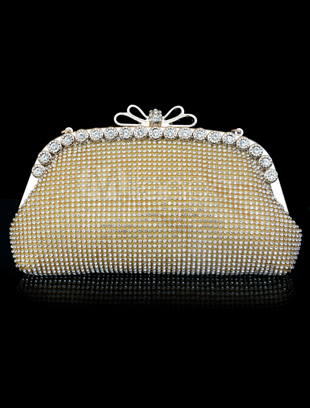 Buy Evening Clutch Bag Gold Rhinestones Beading Glitter Wedding Bridal Purse for $34.64 in Milanoo store