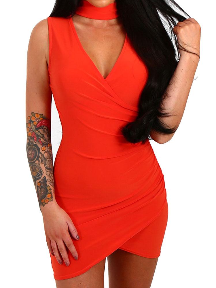 Bodycon Choker Dress Red V Neck Sexy Wrap Women Mini Dresses Cheap clothes, free shipping worldwide