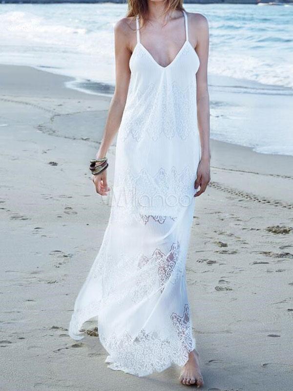 342c14d3268a Vestito bianco lungo Boho oversize V collo senza maniche in cotone  spaghetti fodera abito maxi delle ...