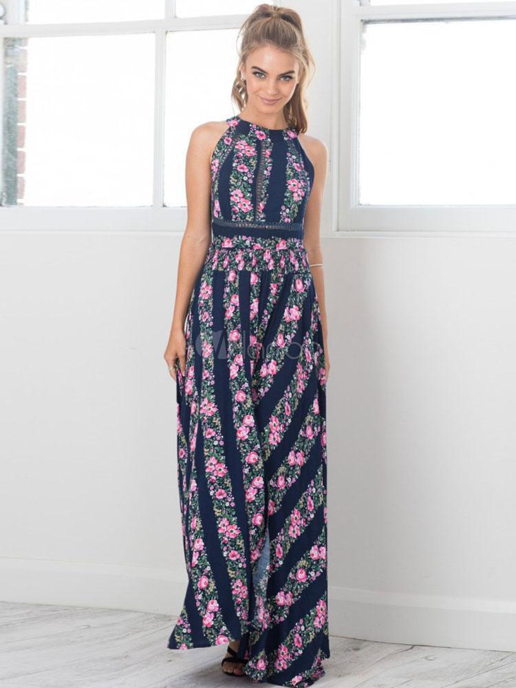 Boho Maxi Dress Floral Print Round Neck Sleeveless Backless High Slit Deep Blue Long Dress