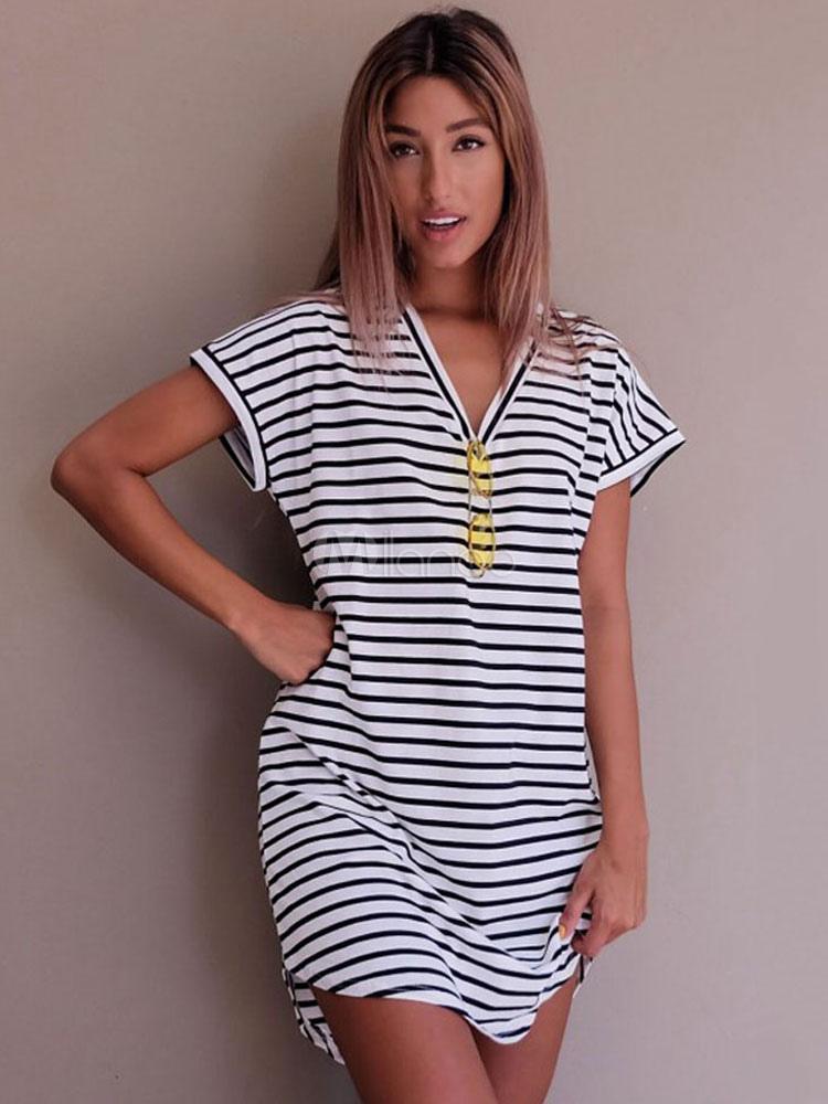 f5681ce27ec Oversized T Shirt Dress V Neck Short Sleeve Striped Curved Hem Short Casual  Dress-No ...