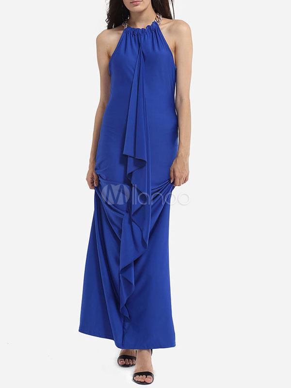 brand new 121f2 fc20f Il vestito blu dai maxi dai vestiti lunghi da estate delle donne increspa  l'increspatura delle cinghie