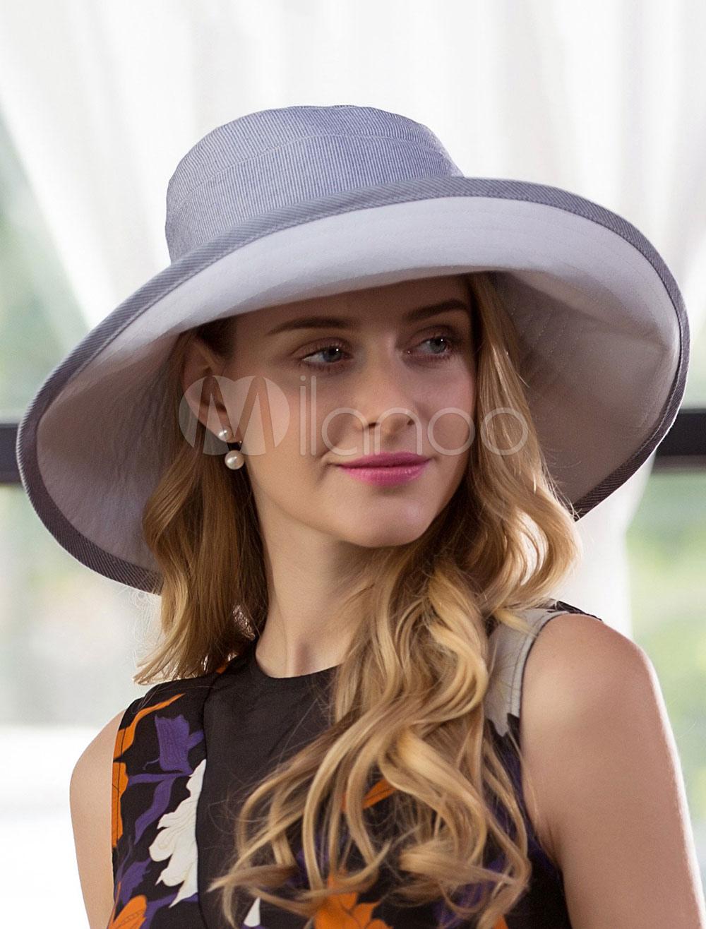 Buy Grey Sun Hat Women's Summer Beach Floppy Hat for $19.79 in Milanoo store