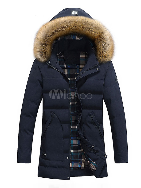 Buy Men's Quilted Jacket Deep Blue Hooded Long Sleeve Slim Fit Winter Jacket for $55.09 in Milanoo store