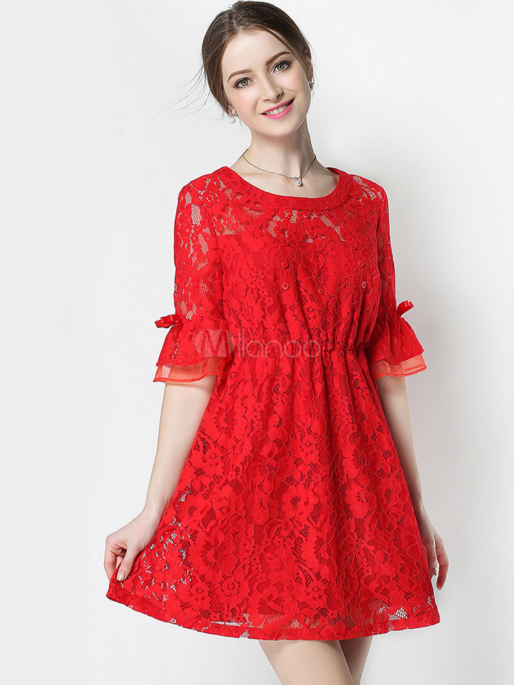 Buy Red Lace Dress Round Neck Half Flare Sleeve Bowknot Pleated Mini Skater Dress for $17.99 in Milanoo store