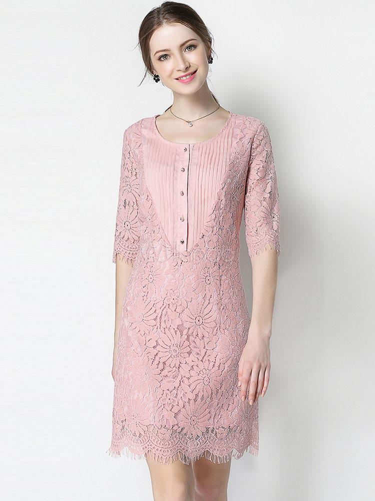 Vestido de encaje con botones informal de encaje con escote redondo ...