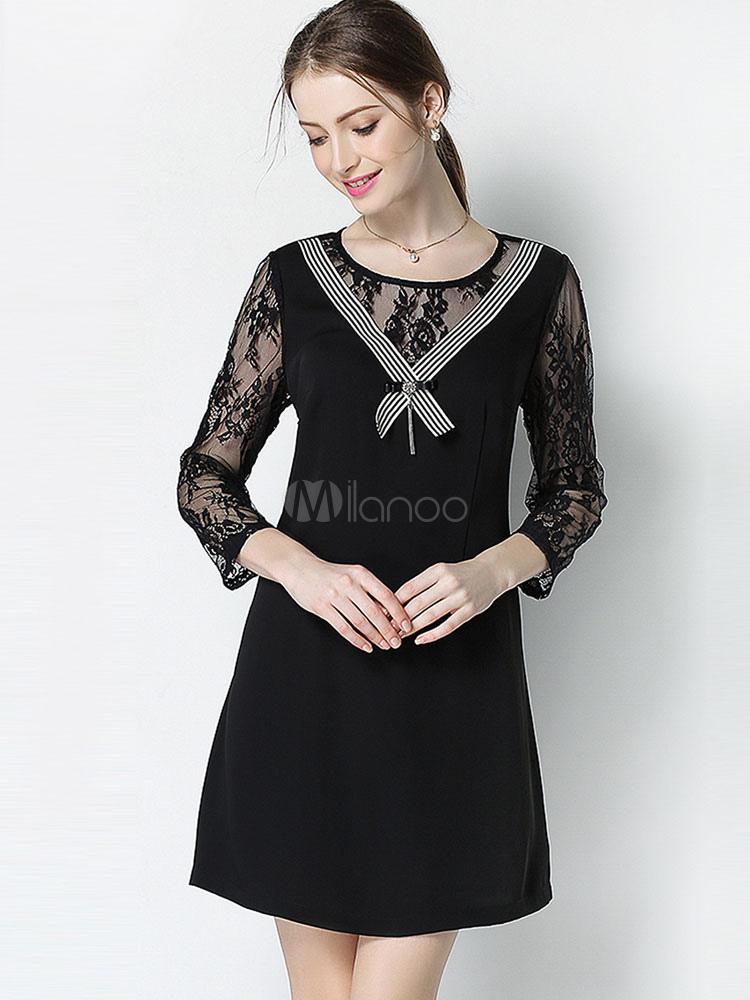 1c827d23d96 Belle robe droite mode en polyester noir avec dentelle vêtements  journaliers et noeud col rond- ...
