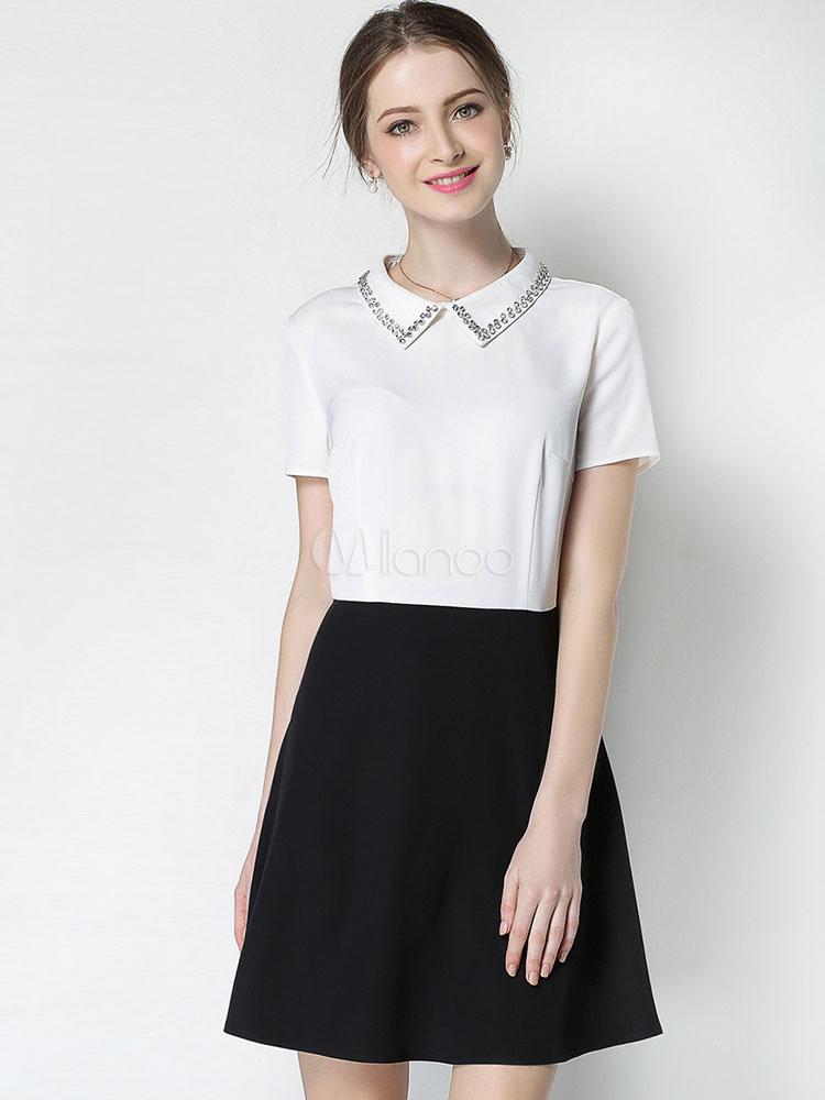 e88d106055 Women's Shift Dress Plus Size Rhinestones Embellished Collar Short Sleeve  Color Block White Mini Dress- ...