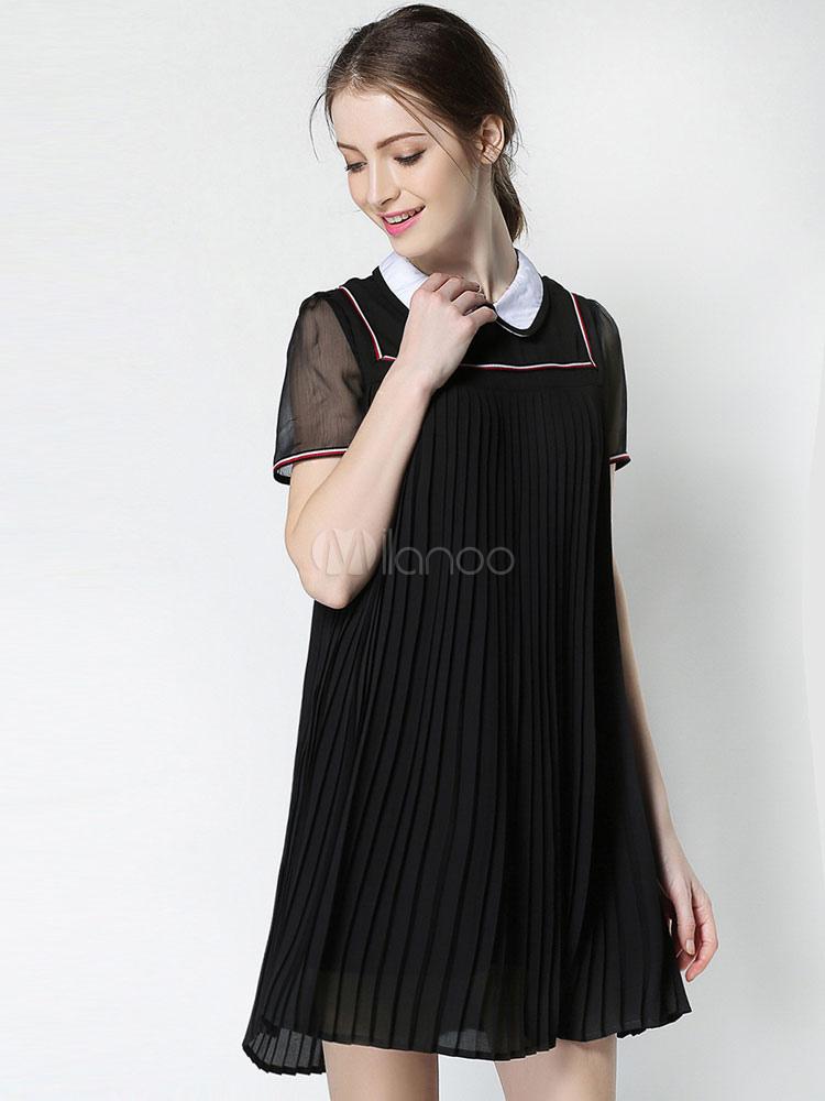 Chiffon Shift Dress Plus Size Peter Pan Collar Short Sleeve Draped High Low  Women\'s Mini Dress