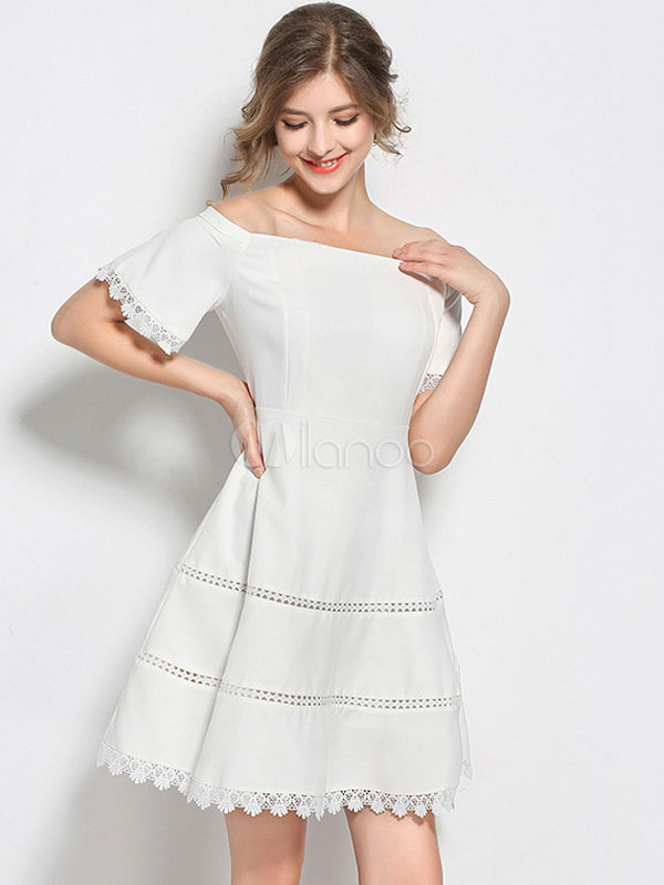 9a4943a1a9 White Skater Dress Off The Shoulder Short Sleeve Women s Fit And Flare ...