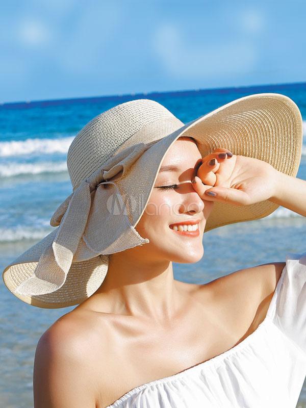 Women's Beach Sunbonnet Boho Bowknot Summer Floppy Hat