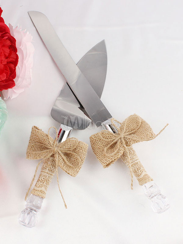 Buy Cake Serving Set Wedding Bow Decor Silver Cake Knife for $22.76 in Milanoo store