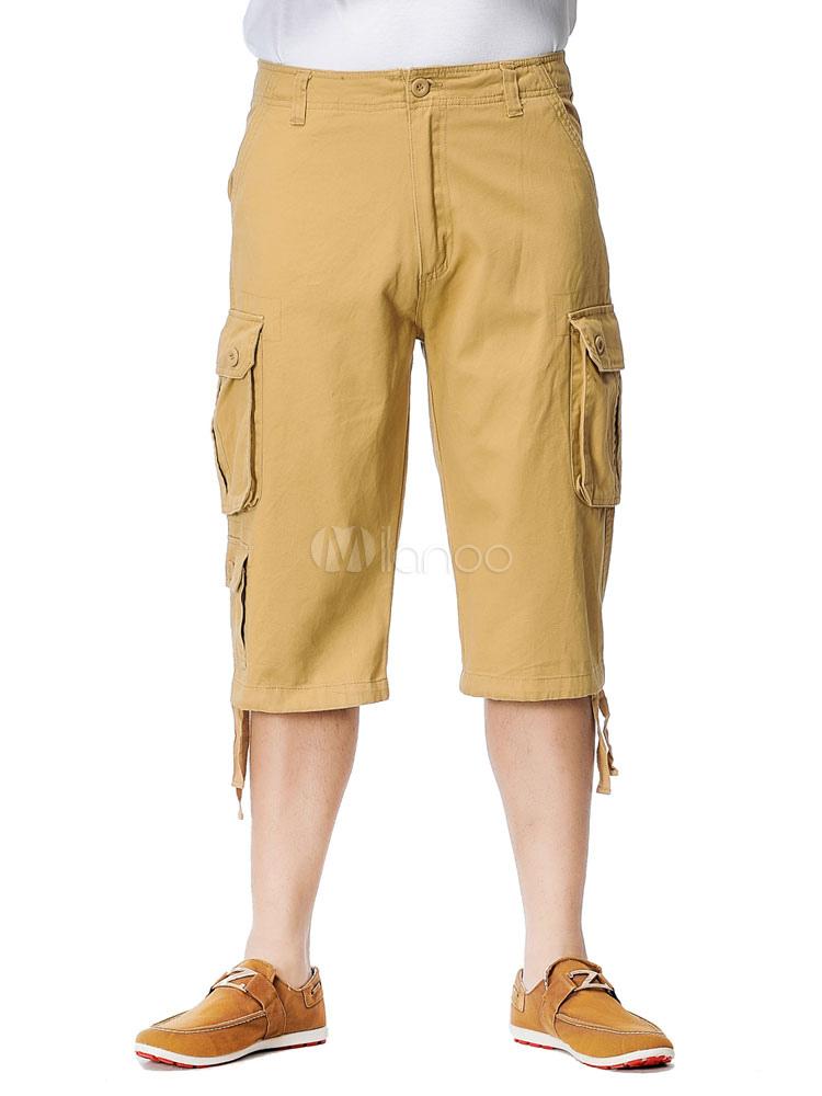 Cotton Cargo Shorts Zipper Fly Men's Overall Capri Shorts