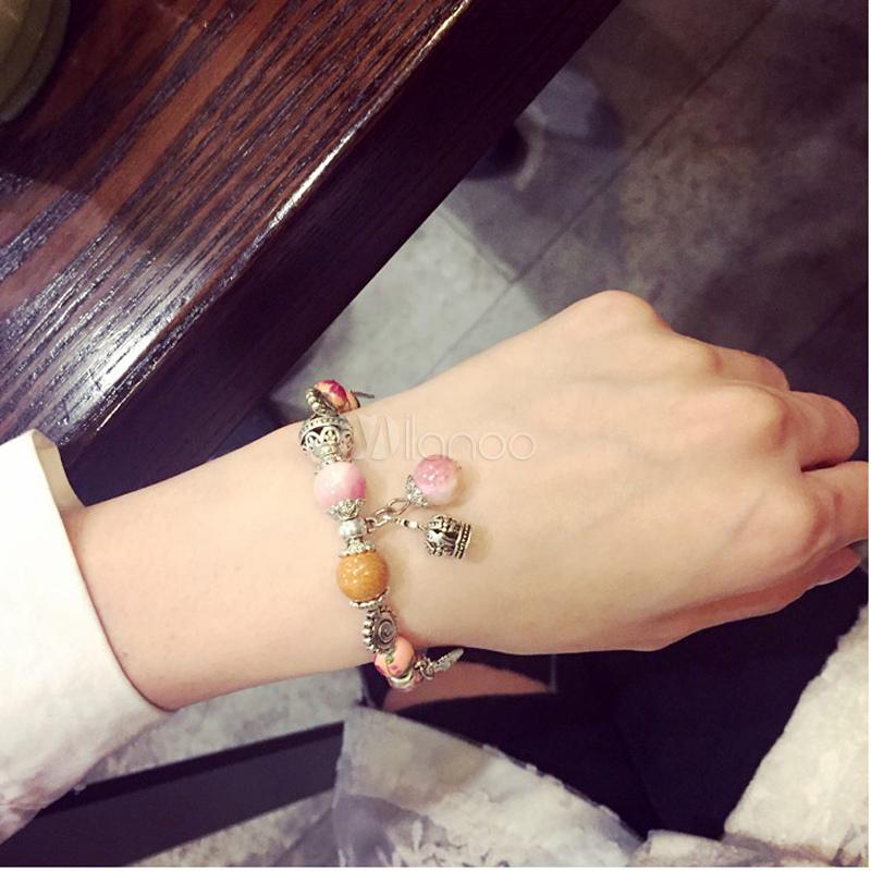 Buy Women's Pink Bracelet Alloy Beaded Charm Bracelet for $5.94 in Milanoo store