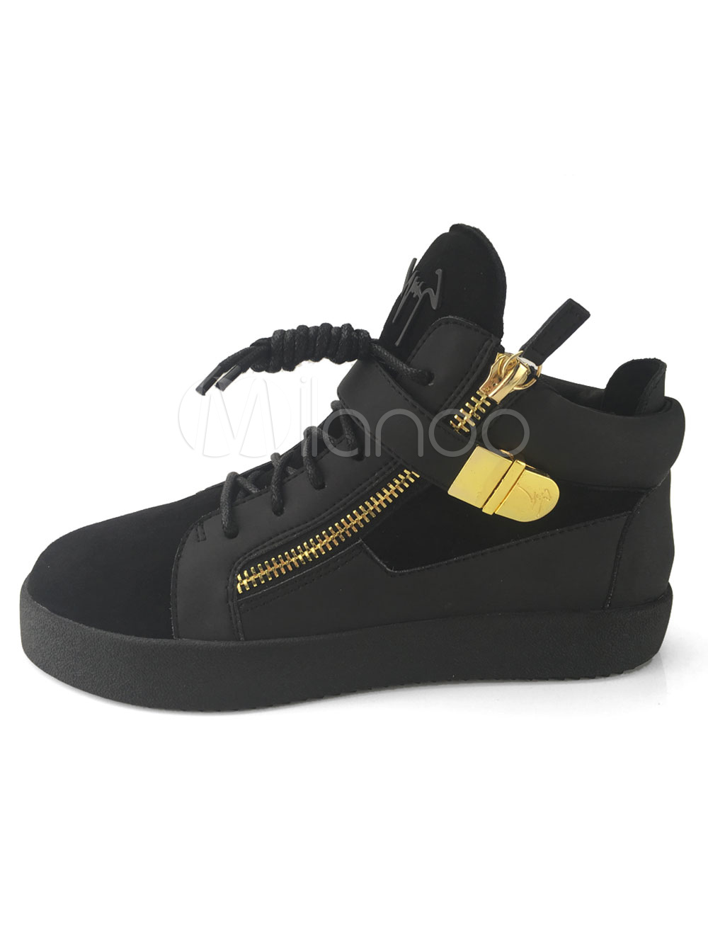 Buy Black Skate Shoes Leather Round Toe Lace Up Metal Detail High Top Sneakers for $78.84 in Milanoo store