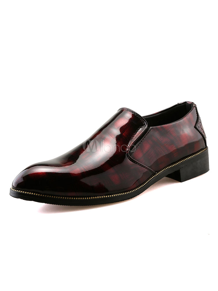 Buy Burgundy Dress Shoes Men's Pointed Toe Slip On Business Casual Shoes for $31.49 in Milanoo store