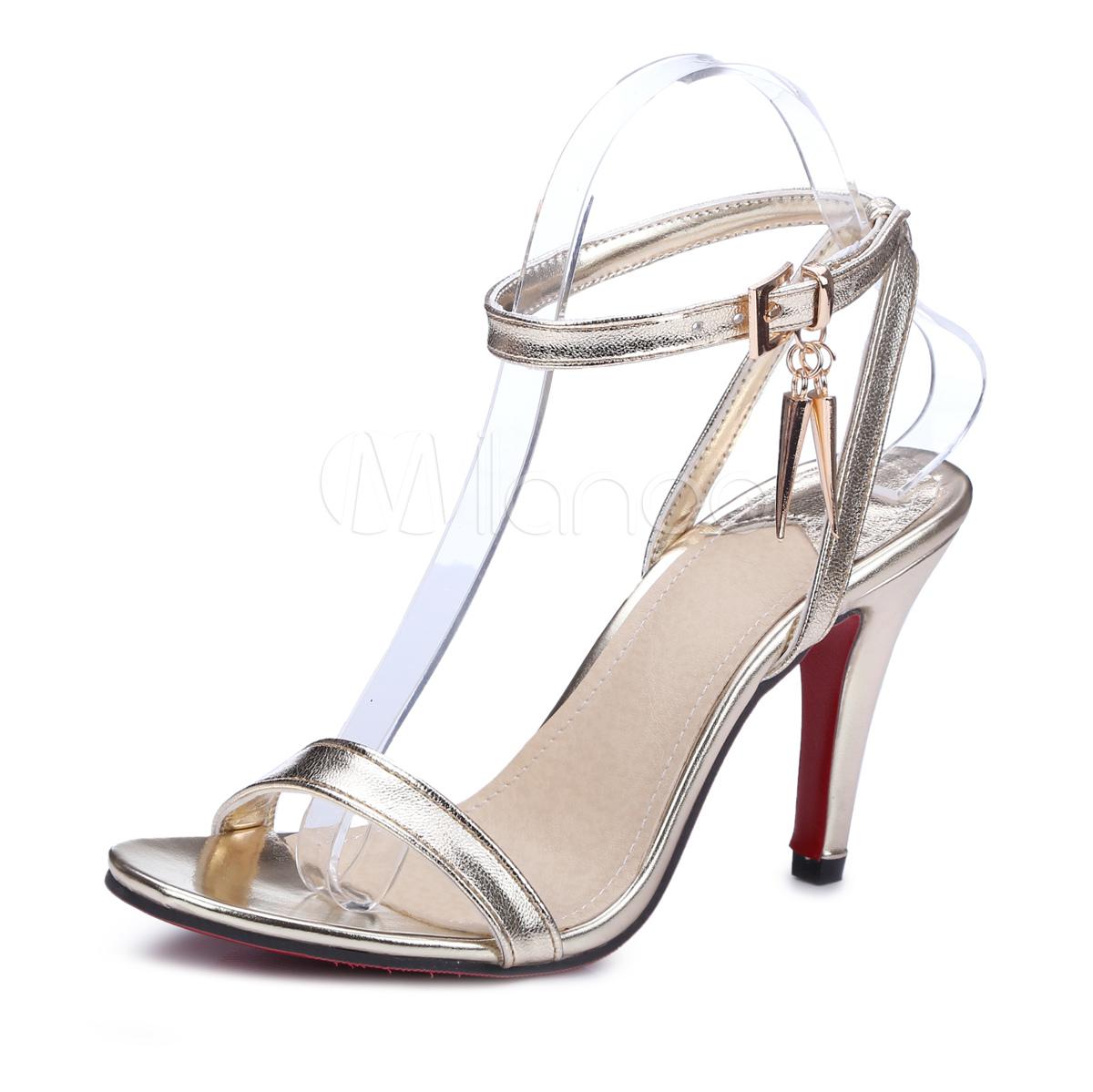 Buy High Heel Sandals Golden Open Toe Stiletto Ankle Strap Sandal Shoes For Women for $28.49 in Milanoo store