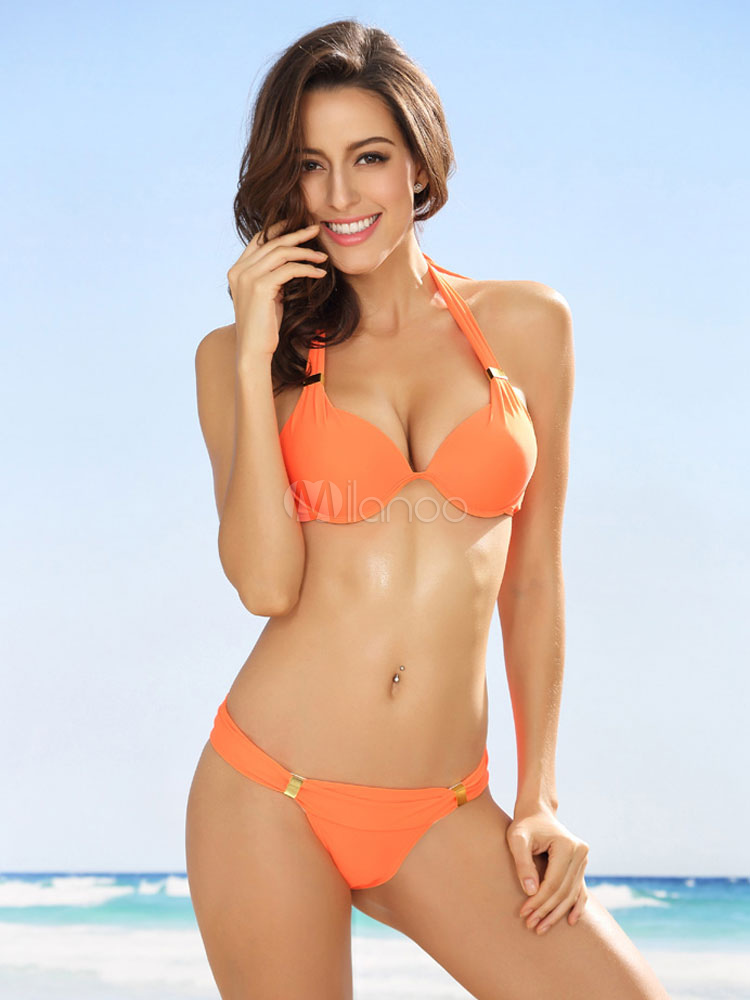 Orange Red Bikini Set Halter Women's Sexy Beach Bathing Suits