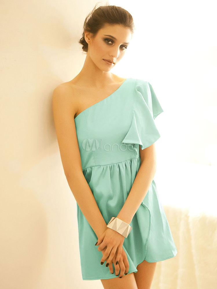 Frauen Sommerkleid hellblau eine Schulter kurze Hülse ein ...