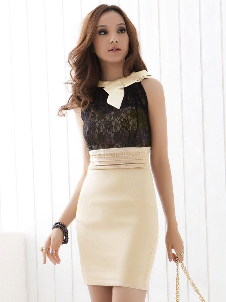 d8e955eb1a77d Women Bodycon Dress Work Dress Lace Two Tone Sleeveless Pencil Dress-No.1  ...