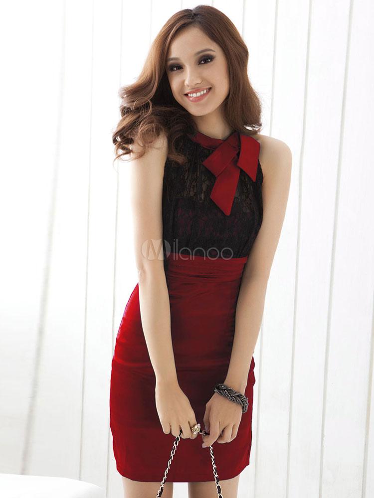 08205ef8f76da ... Women Bodycon Dress Work Dress Lace Two Tone Sleeveless Pencil Dress-No.3  ...