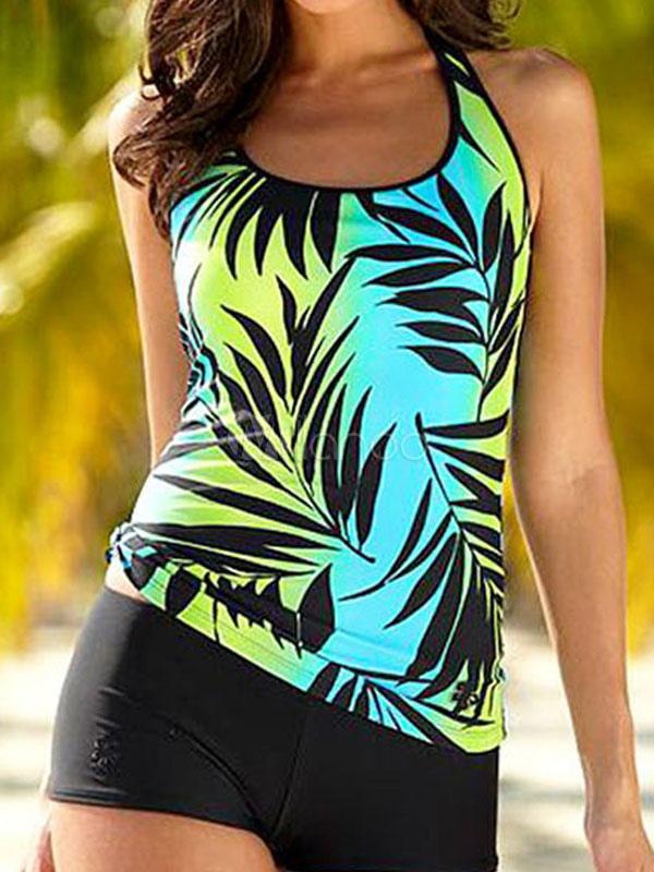 Green Tankini Swimsuit Leaf Printed Women's U Neck 2 Piece Beach Bathing Suits
