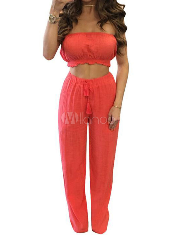cb268403526 ... 2 Pieces Outfit Cotton Women s Strapless Tube Top With Tassels Pants -No.3