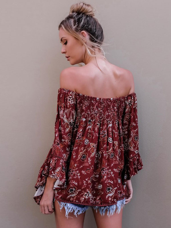 e3d6579e69f ... Burgundy Boho Blouse Off The Shoulder Floral Print Long Bell Sleeve  Ruffles Shirred Pleated Women's Top ...
