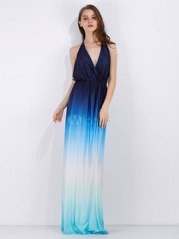 Buy Blue Maxi Dress V Neck Halter Backless Ombre Women's Long Dress for $26.99 in Milanoo store