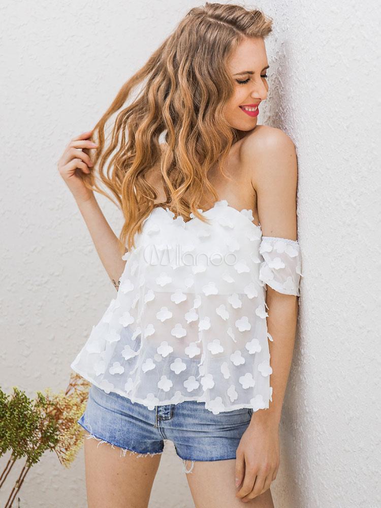 scollo a fiore Honor bianco liscio con Camicetta manica colore Parola coste poliestere in corta eQdoCBxWr