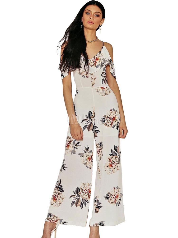 Boho White Jumpsuit Women's Strappy Short Sleeve Cold Shoulder Floral Printed Jumpsuit