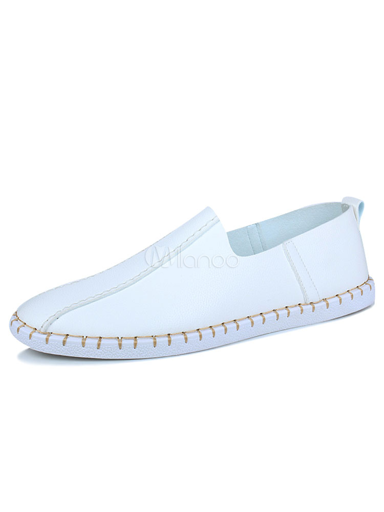 White Flat Shoes Men Casual Shoes Round Toe Slip On Pumps