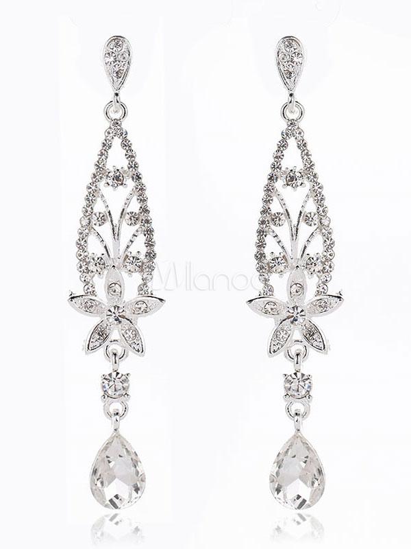Wedding Silver Earrings Rhinestones Beading Leaf Bridal Earrings