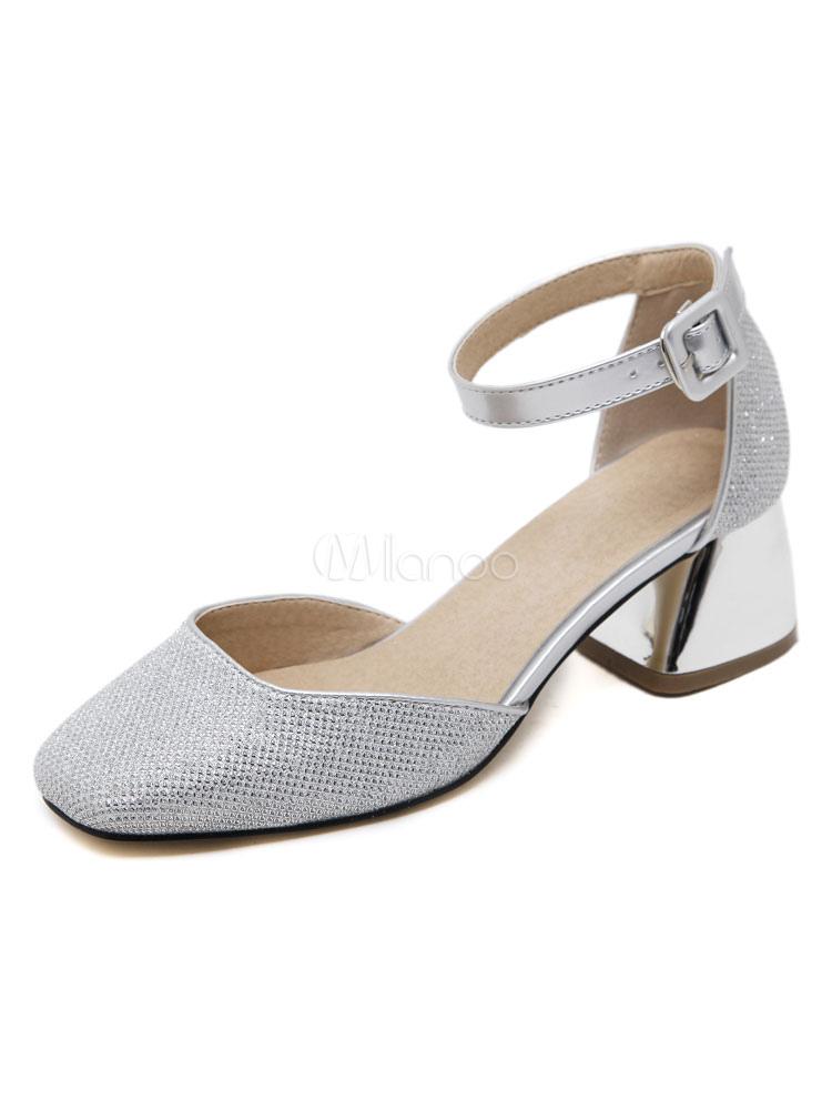 Zapatos de tacón medio de tela brillante 3USANL52U8